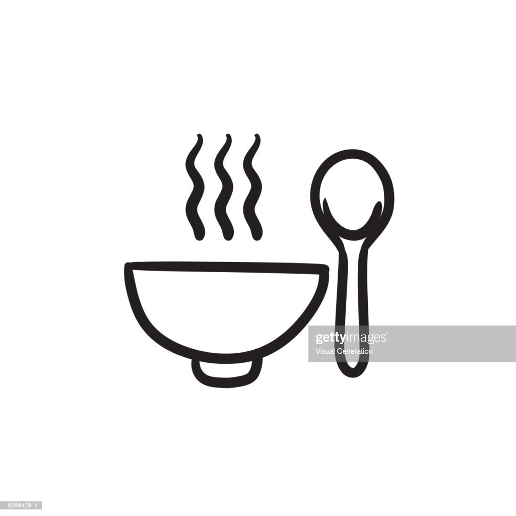 Bowl of hot soup with spoon sketch icon