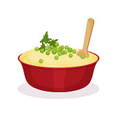 Bowl of mashed potato, traditional Christmas food vector Illustration on a white background