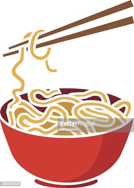 bowl of noodles and chopsticks - chopsticks stock illustrations, clip art, cartoons, & icons