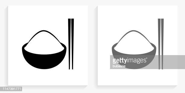 bowl of rice black and white square icon - chopsticks stock illustrations, clip art, cartoons, & icons