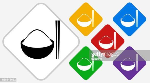 illustrazioni stock, clip art, cartoni animati e icone di tendenza di bowl of rice color diamond vector icon - bacchetta
