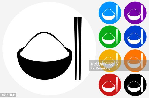 Bowl of Rice Icon on Flat Color Circle Buttons