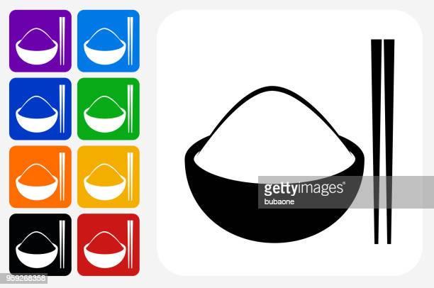 Bowl of Rice Icon Square Button Set