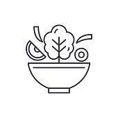 Bowl of salad line icon concept. Bowl of salad vector linear illustration, symbol, sign
