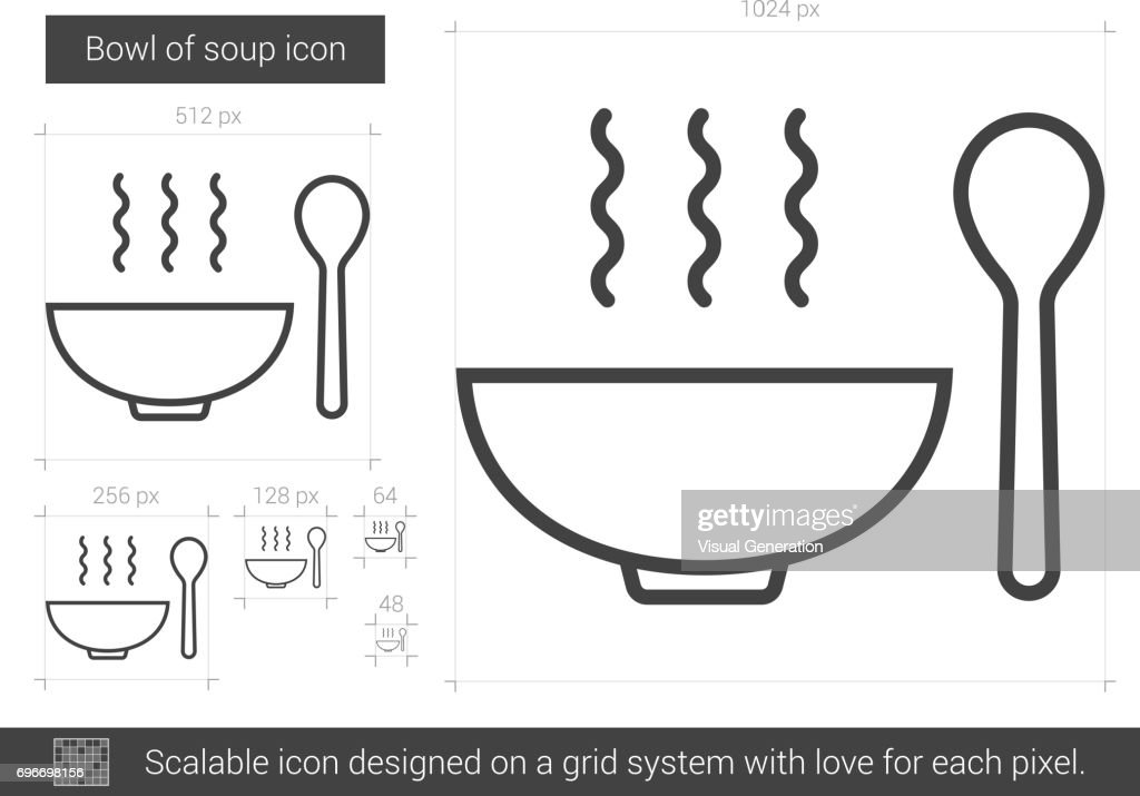 Bowl of soup line icon