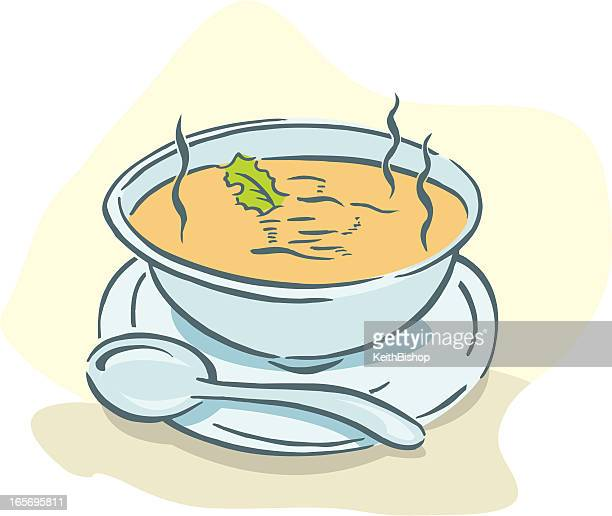 bowl of soup with spoon - soup bowl stock illustrations