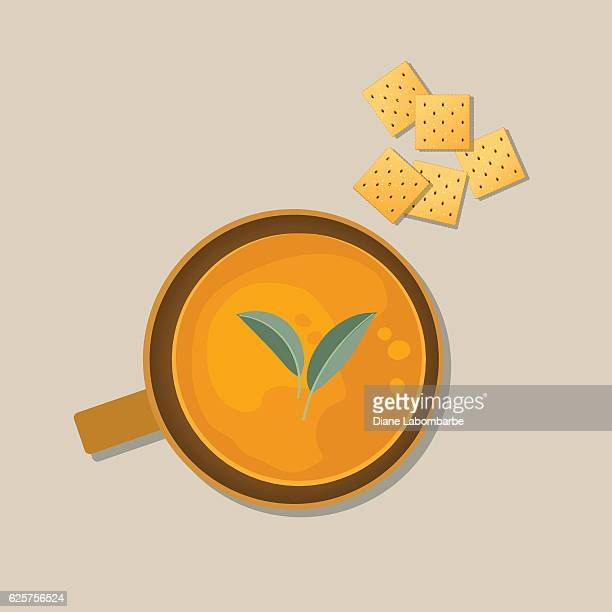 bowl of steaming hot homemade soup with crackers - cracker snack stock illustrations, clip art, cartoons, & icons