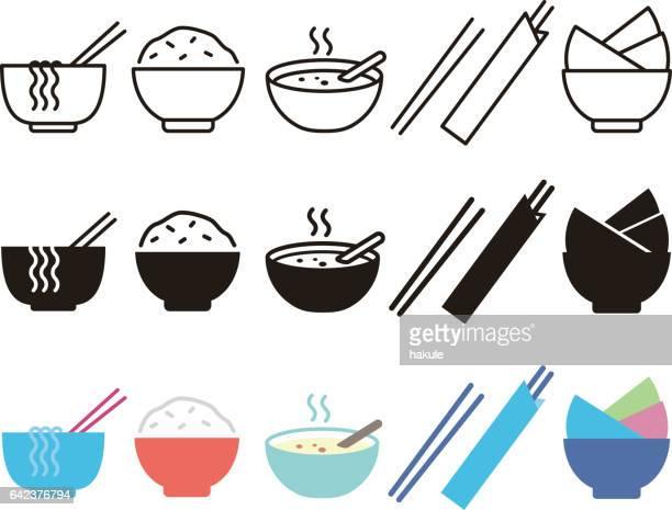 Bowl, rice, chopsticks and noodle