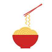 Bowl with ramen noodles. Chopsticks holding noodle. Korean, Japanese, Chinese food. Vector