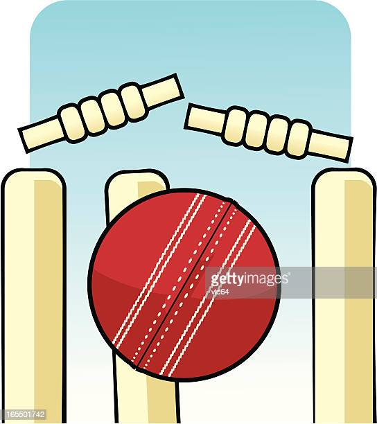 bowled - cricket ball stock illustrations