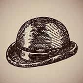 Bowler engraving. Retro clothing began the twentieth century. Vector illustration in sketch style