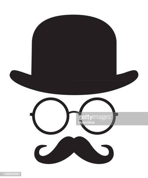 ilustraciones, imágenes clip art, dibujos animados e iconos de stock de cara del sombrero de bolos - bigote