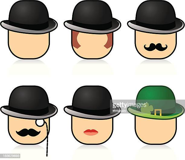 Bowler hats and faces