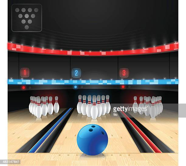 bowling alley - bowling stock illustrations, clip art, cartoons, & icons