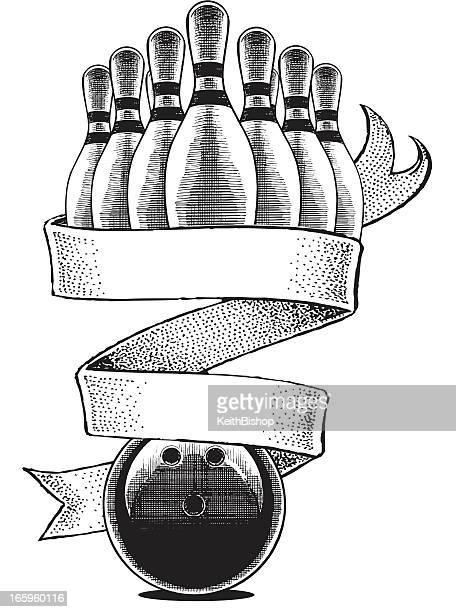 bowling award design - bowling pin stock illustrations, clip art, cartoons, & icons