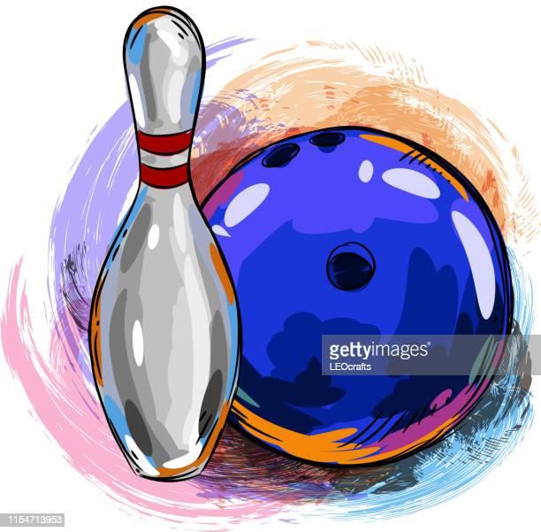 bowling ball and bowling pin drawing - bowling pin stock illustrations