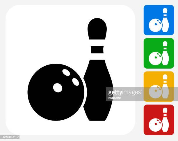 bowling ball and pin icon flat graphic design - bowling ball stock illustrations, clip art, cartoons, & icons
