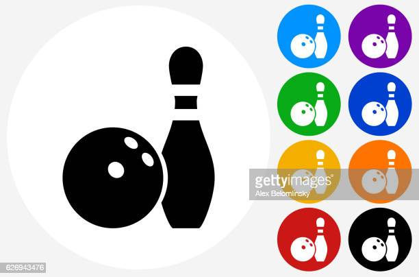 bowling ball and pin icon on flat color circle buttons - bowling ball stock illustrations, clip art, cartoons, & icons