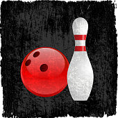 bowling ball and pin on royalty free vector Background