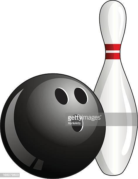 bowling ball and pin - bowling ball stock illustrations, clip art, cartoons, & icons