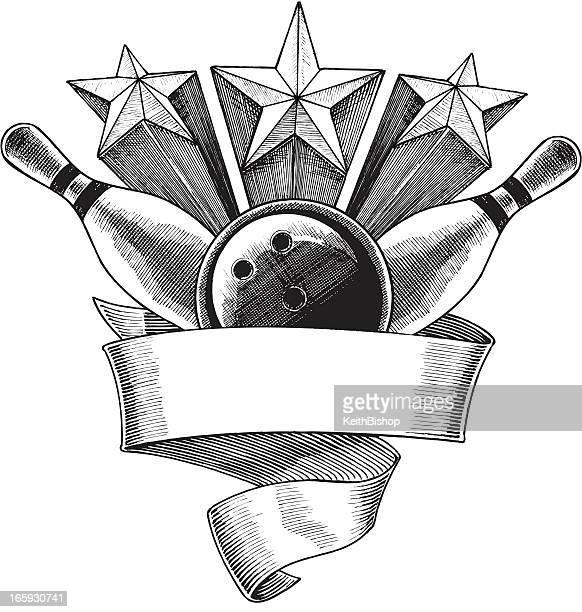bowling ball and pins - banner - bowling ball stock illustrations, clip art, cartoons, & icons