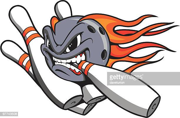 bowling ball and pins flamed - bowling stock illustrations, clip art, cartoons, & icons