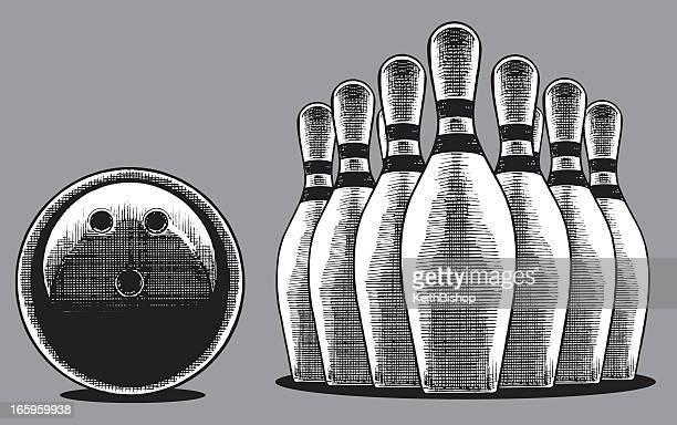 bowling ball and pins - bowling ball stock illustrations, clip art, cartoons, & icons
