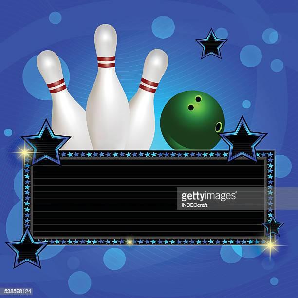 Bowling-Kugel und Stifte mit Banner