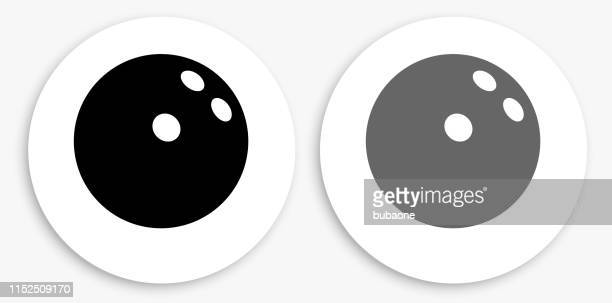 bowling ball black and white round icon - bowling ball stock illustrations, clip art, cartoons, & icons