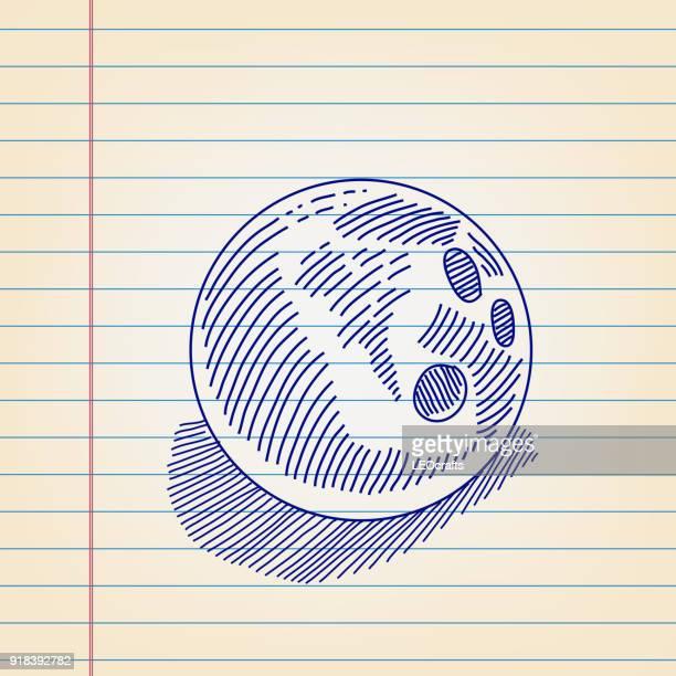 Bowling-Kugel-Zeichnung auf dem Papier ausgekleidet