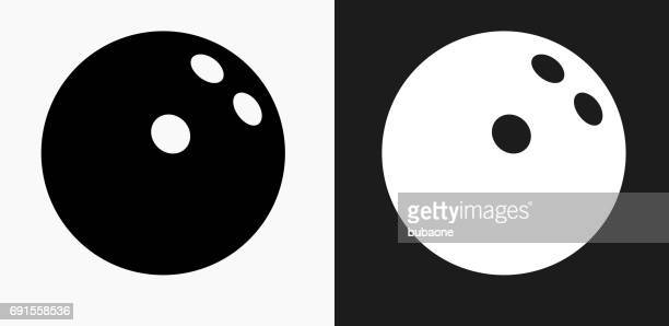 bowling ball icon on black and white vector backgrounds - bowling ball stock illustrations, clip art, cartoons, & icons