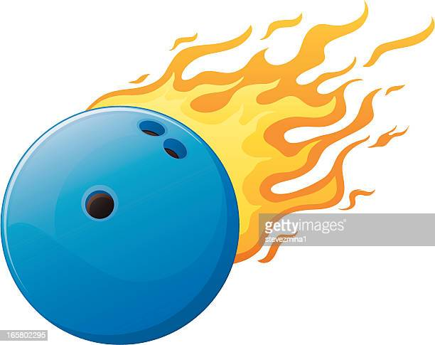 bowling ball on fire - bowling ball stock illustrations, clip art, cartoons, & icons