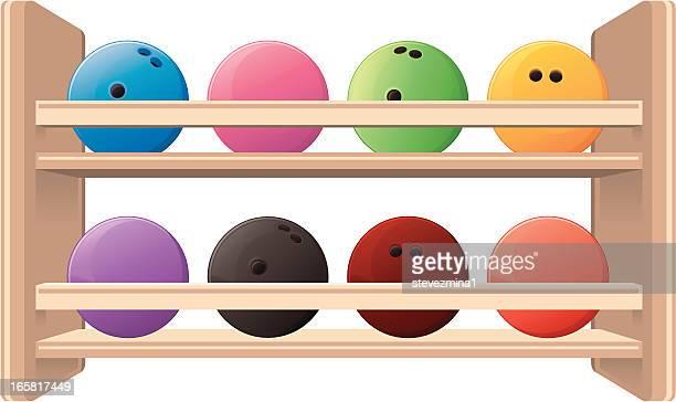 bowling ball rack - bowling ball stock illustrations, clip art, cartoons, & icons