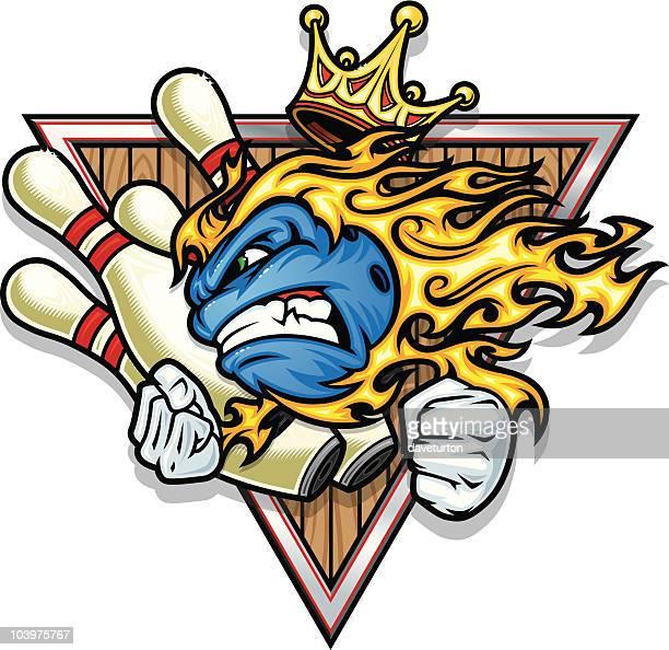 bowling ball strike flamed - bowling ball stock illustrations, clip art, cartoons, & icons