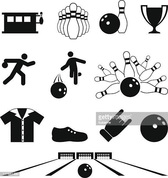 bowling schwarz und weiß lizenzfreie vektor icon-set