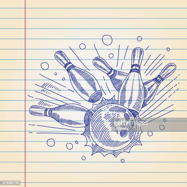 bowling drawing on lined paper - bowling stock illustrations, clip art, cartoons, & icons