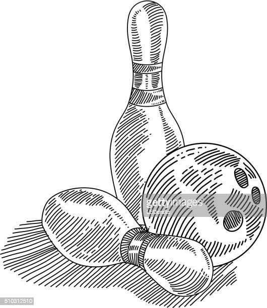 bowling drawing - bowling ball stock illustrations, clip art, cartoons, & icons