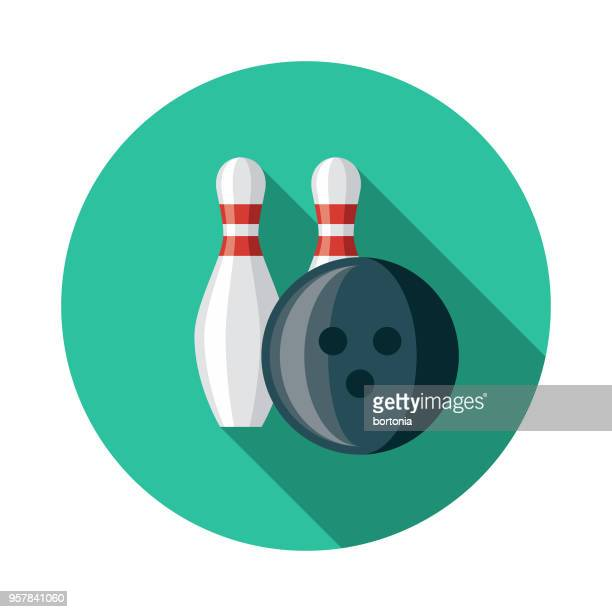 bowling flat design sports icon with side shadow - bowling ball stock illustrations, clip art, cartoons, & icons