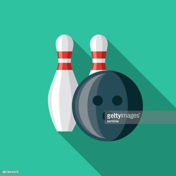 bowling flat design sports icon with side shadow - bowling stock illustrations, clip art, cartoons, & icons