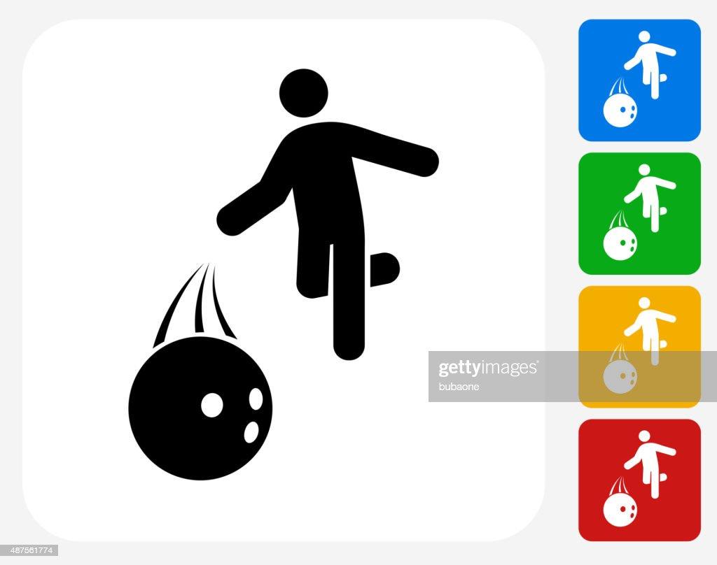 Bowling Hurl Icon Flat Graphic Design