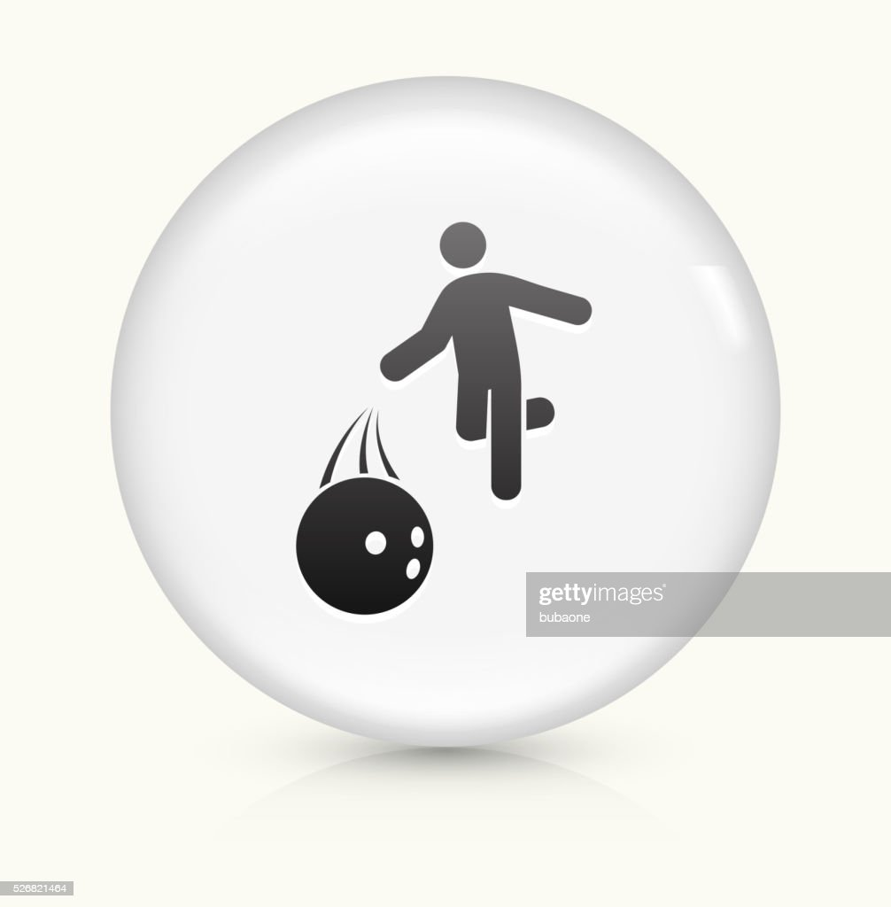 Bowling Hurl icon on white round vector button