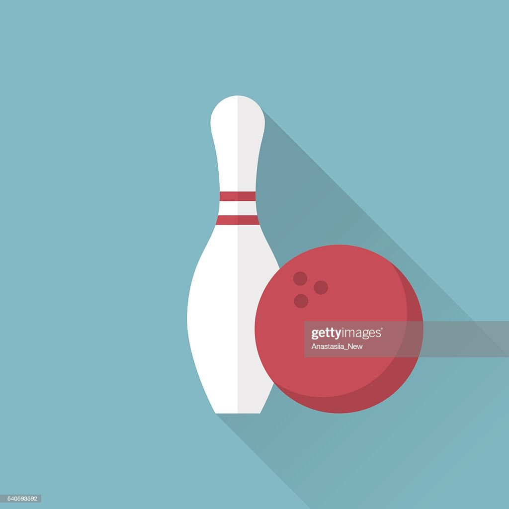 Bowling icon. Skittle and ball. Sport background.
