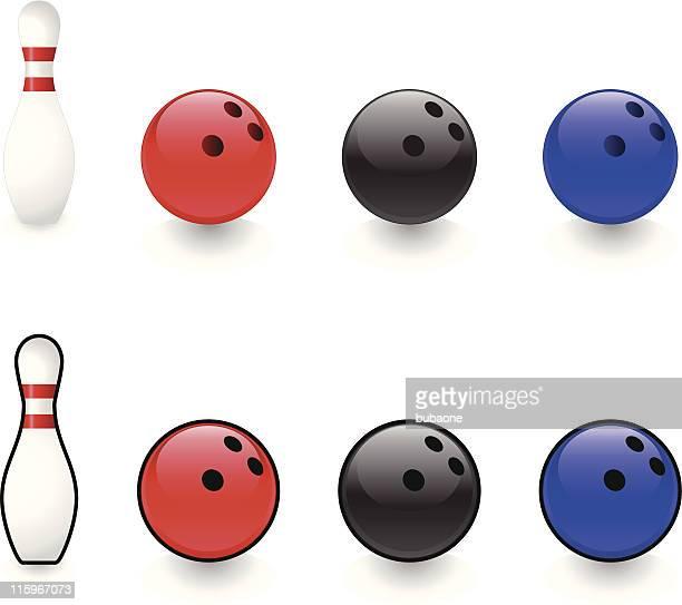 bowling pin and ball - bowling ball stock illustrations, clip art, cartoons, & icons