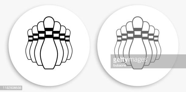 bowling pin black and white round icon - bowling pin stock illustrations