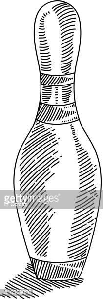 bowling pin drawing - bowling pin stock illustrations