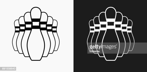Bowling Pin pictogram op zwart-wit Vector achtergronden