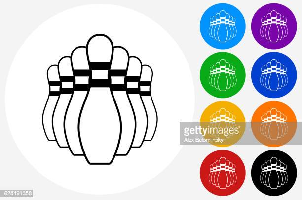 Bowling Pin Icon on Flat Color Circle Buttons