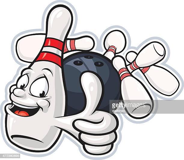 bowling pin mascot - bowling ball stock illustrations, clip art, cartoons, & icons