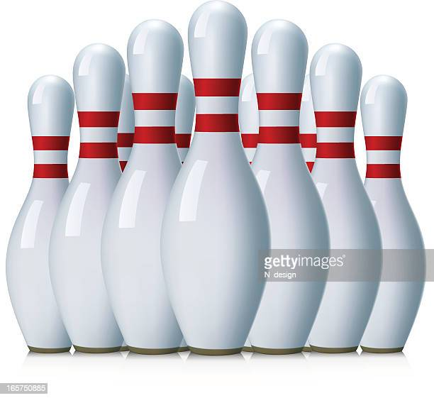 bowling pins - bowling pin stock illustrations, clip art, cartoons, & icons