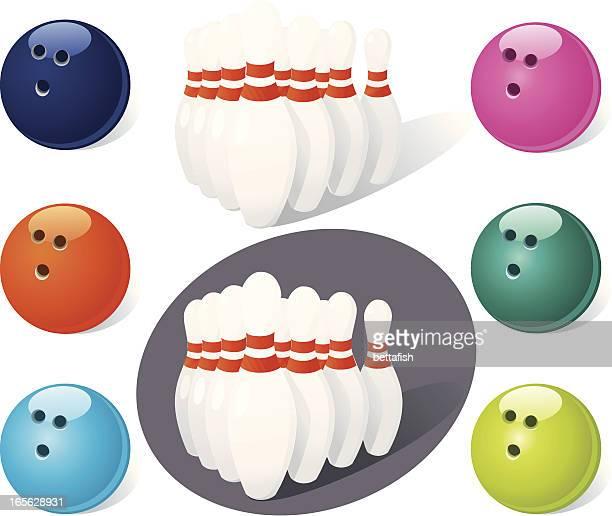 bowling set - bowling ball stock illustrations, clip art, cartoons, & icons